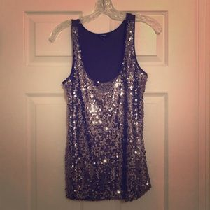 Charcoal sequin tank